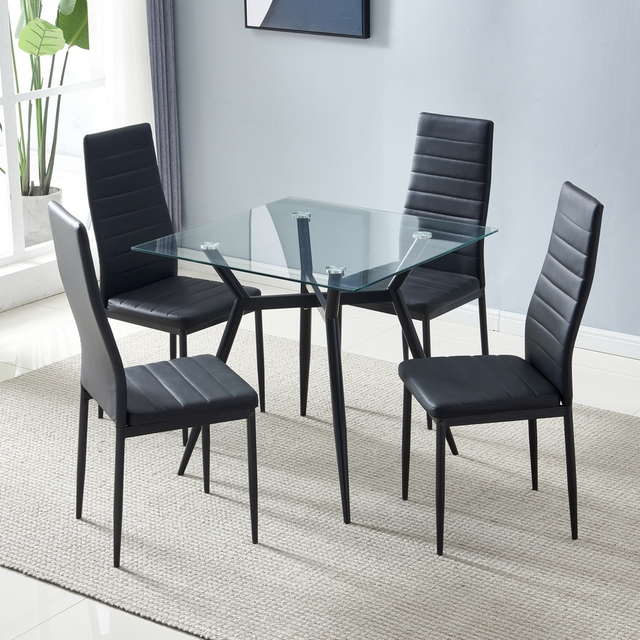 80*80*75cm Glass Dining Table Set 44*53*96cm 4pcs Dining Chair for Most living room Balcony or Dining room 5