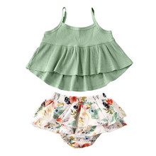 Summer Infant Baby Girls Clothes Sets Sleeveless Vest Tops+Floral Shorts 2pcs Outfits 0-24M