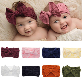 NEW Fashion Cute Baby Girls Kid Bowknot Headband Solid Nylon Elastic Turban Head Wrap Headwear Cartoon Hairband Hair Accessories image