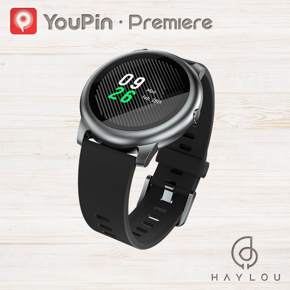 YouPin Haylou LS05 Solar Smart Watch Sport Metal Round Case Heart Rate Sleep Monitor IP68 Waterproof 30 Day Battery IOS Android