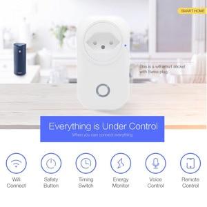 Image 2 - Switzerland Plug WIFI Smart Socket Wireless CH Outlet Tuya Smart Life Power Monitor For Alexa Google Home IFTTT