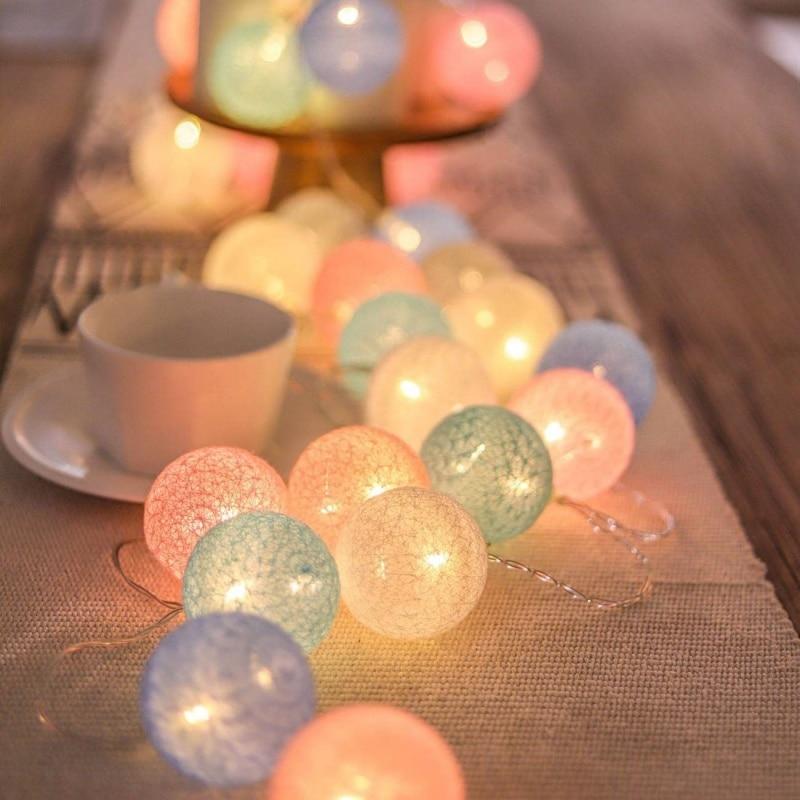 Permalink to 20 LED String Lights Cotton Balls Garland Beads LED Strips Kids Bedroom Decor Wedding Garden Halloween Christmas Decoration