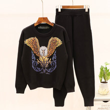 Europen style womens casual pantsuit Autumn high quality beading sequins sweaters+kint pants two piece set A977