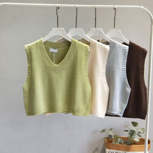 Pullovers Women Knitted-Vest Sweater Short Spring V-Neck Twist Female Autumn Casual Sleeveless