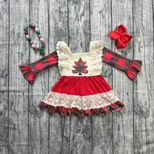 Christmas tree winter baby girls cotton plaid Aztec dress ruffle children clothes boutique outfits knee length match accessories(China)