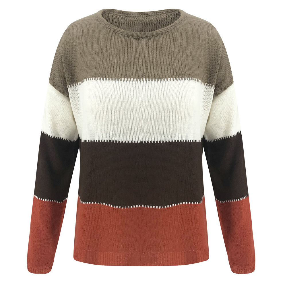 Mens New Sweatshirt Sweater Jumper Crew Neck Pullover Retro Stripes Fleece Size