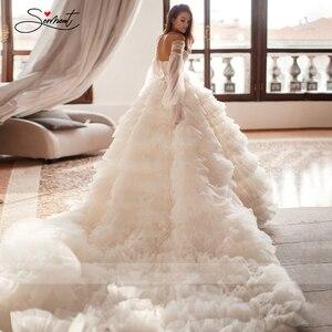 Image 2 - BAZIIINGAAA יוקרה חתונה שמלה סקסי משיי אורגנזה עבה לפרוע כלה חתונת שרוולים חולצת סטרפלס תמיכה תפור