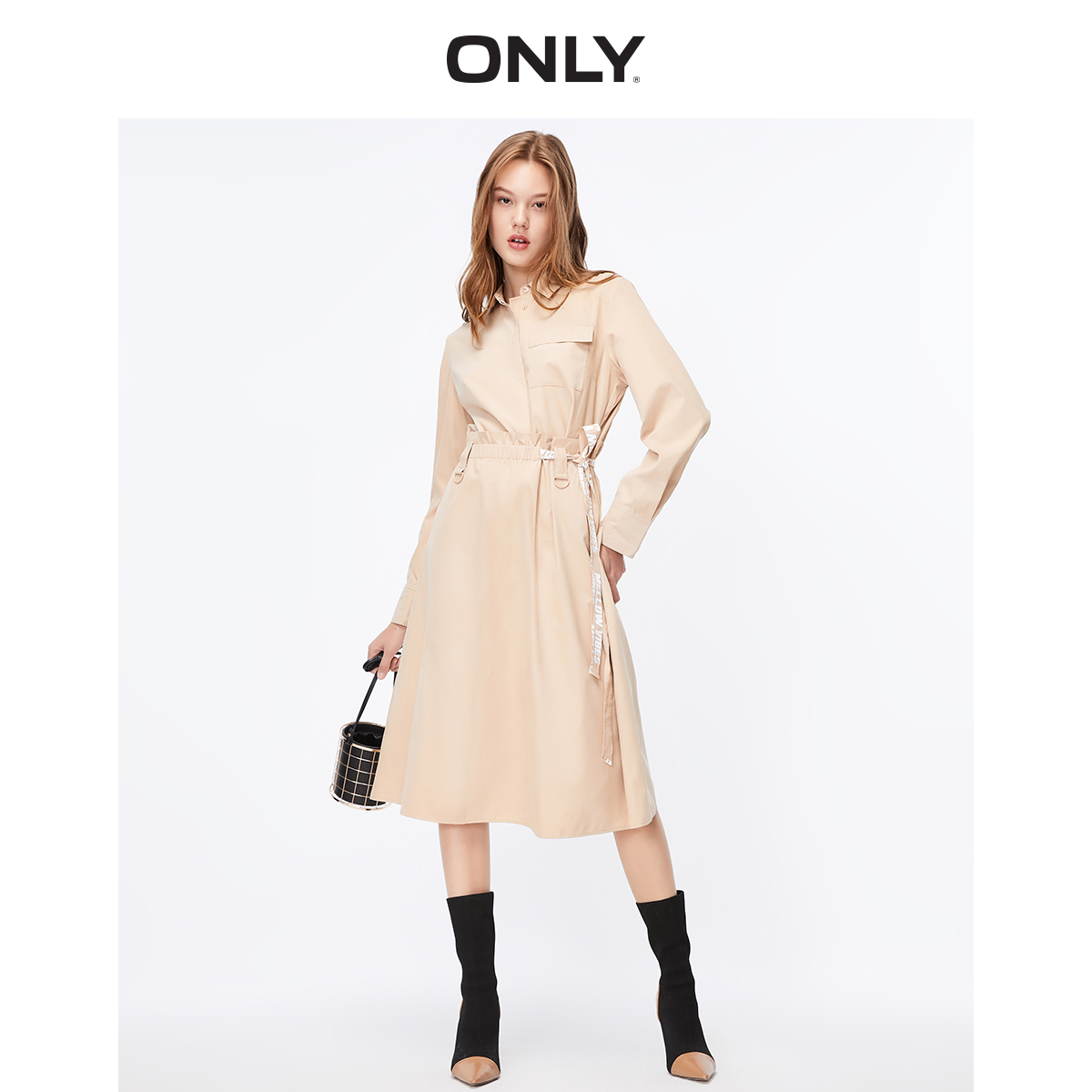 ONLY Women's Trendy waist tooling solid color fake two-piece shirt dress   119307580