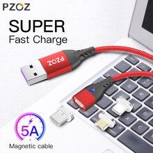 PZOZ микро USB C Магнитный кабель 5А супер быстрая зарядка телефона тип-c магнитное зарядное устройство Microusb для iPhone samsung Galaxy S10 huawei