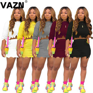 VAZN MOS933 New Free Fashion Tracksuits 2019 Casual Young Fashion Colorful short Sleeve Top Shor Pants Elastic Women 2 Piece Set