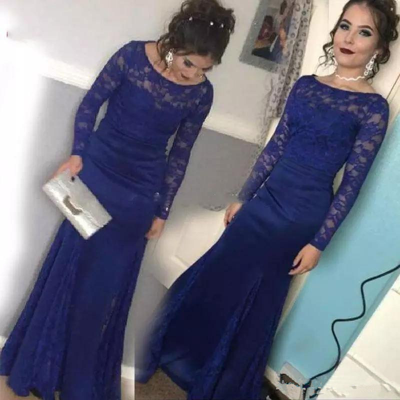 Royal Blue Mother Of The Bride Dresses 2019 Farsali Mermaid Long Sleeves Lace Appliques Long Arabic Plus Party Evening Gowns