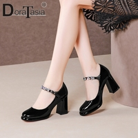 DORATASIA Brand Female Genuine Leather Pumps Casual Office Pumps Women Square Toe Buckle Strap Black High Heel Shoes Woman