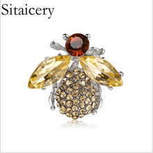Sitaicery Women Delicate Little Bee Brooches Crystal Rhinestone Pin Brooch Enamel Brooches Jewelry Gifts For Women Bee jewelry все цены