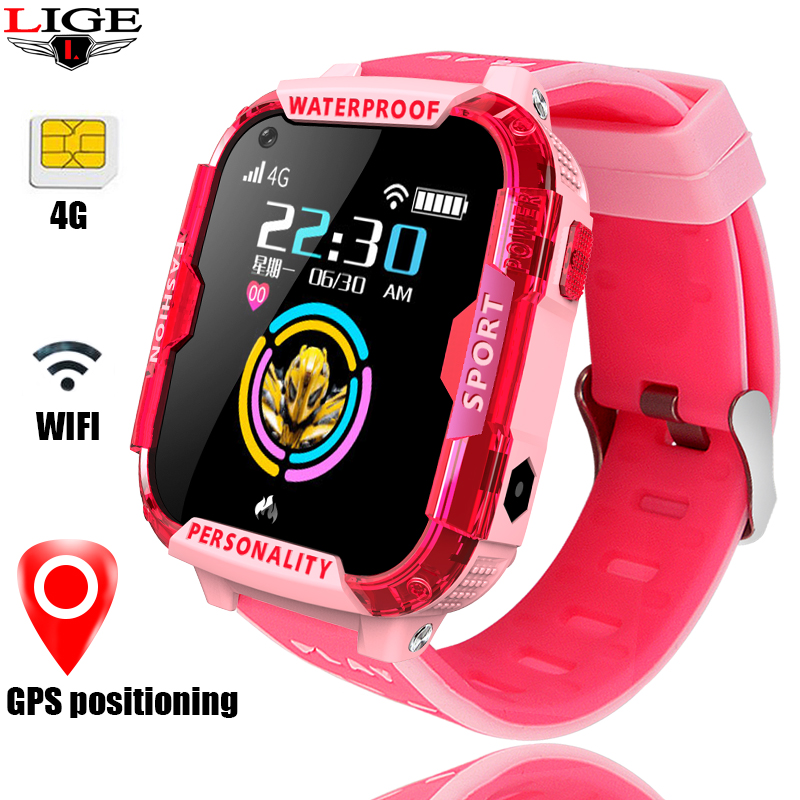 LIGE 4G smart watch waterproof children phone camera GPS WI-FI SOS video call monitoring tracker babys
