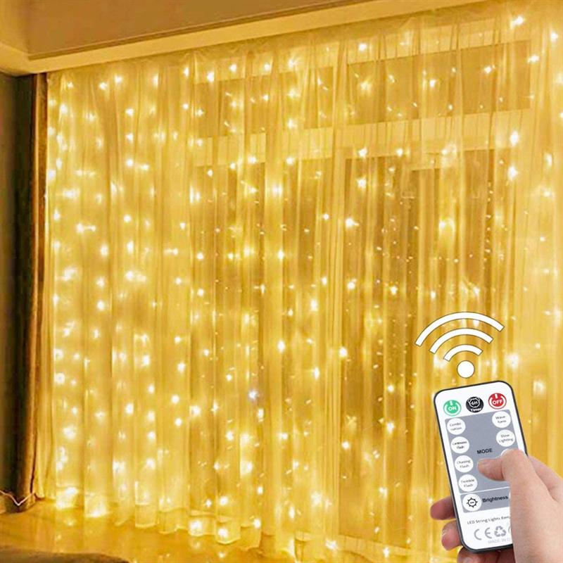 Cortina de luces LED de 3x3M, guirnalda de luces de hadas de Navidad, hogar al aire libre, decoración de boda/fiesta/jardín, 3x1M