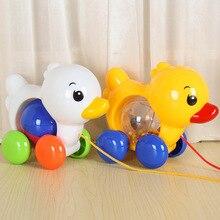 Детские тянущиеся Обучающие игрушечные машинки От 1 до 3 лет детей Тяговая веревка колокольчик утки проволока для крепления щенка