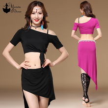New Spring Summer Bellydance Costume Black Strapless Dance Top Modal Material Dance Training Clothes Adult triangle Wrap Skirt