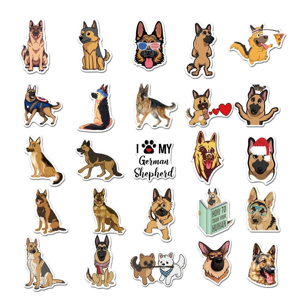 50 PCS German Shepherd Dog Stickers for Scrapbooking Laptop Guitar Skateboard Suitcase Decal Animal Puppy Sticker
