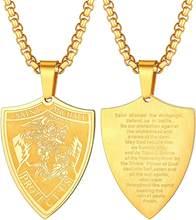 U7 – collier en acier inoxydable pour hommes et femmes, pendentif, bouclier Saint bible, archange, cadeaux des pères, P1060