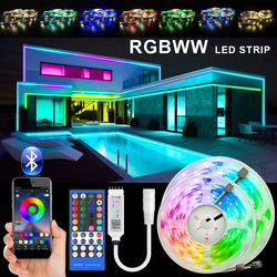 RGBWW LED Strip Light SMD 5050 10M 5M LED Lights Waterproof DC12V RGB Led tape diode ribbon Flexible APP Phone Control+adapter