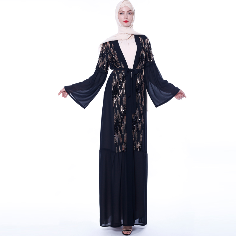 Sequin Open Abaya Kimono Turkish Hijab Muslim Dress Islam Clothing Abayas For Women Oman Caftan Dubai Moroccan Kaftan Djelaba