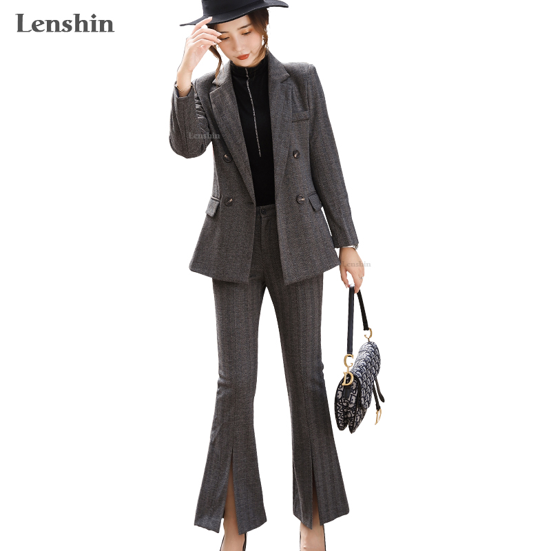 Lenshin High Quality 2 Piece Set Striped Formal Pant Suit Blazer Office Lady Designs Women Business Jacket And Flared Trousers