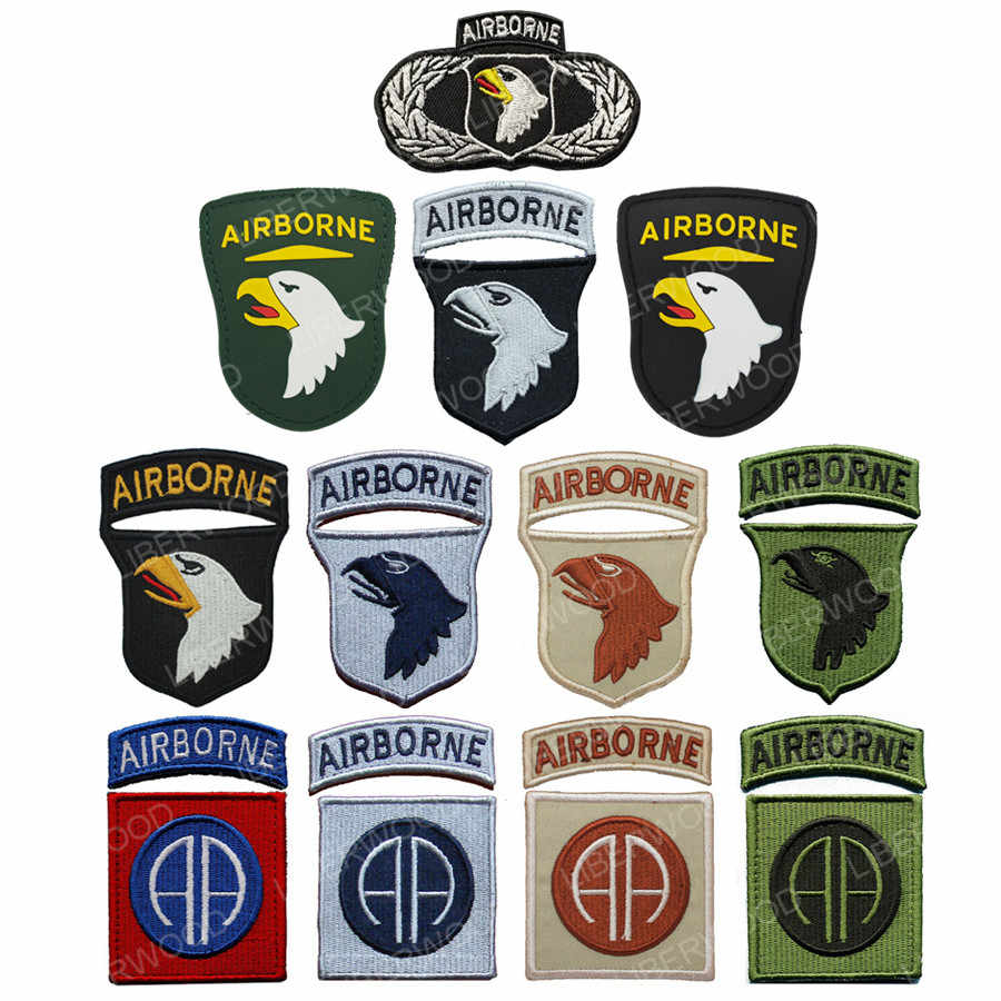101st Airborne Division Cucire Iron on Ricamato Applique spalla gancio Patch Screaming Eagle Distintivo Uniforme Appliques fascia da braccio