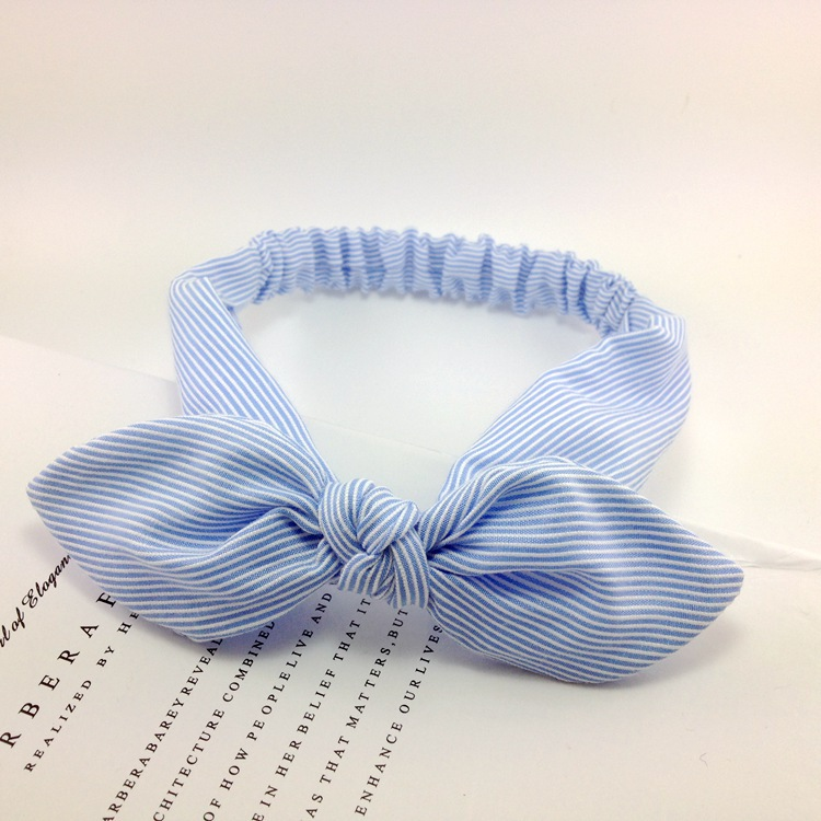 High Quality Cotton Striped Headband For Women Lady Knotted Bow Rabbit Ear Stretch Hair Accessories