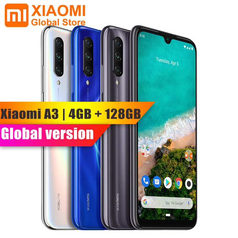 Global Version Xiaomi Mobile Phone Mi A3 4GB 128GB Phone Snapdragon 665 32MP+48MP Rear Dual Flagship Camera 4030mAh Smartphone