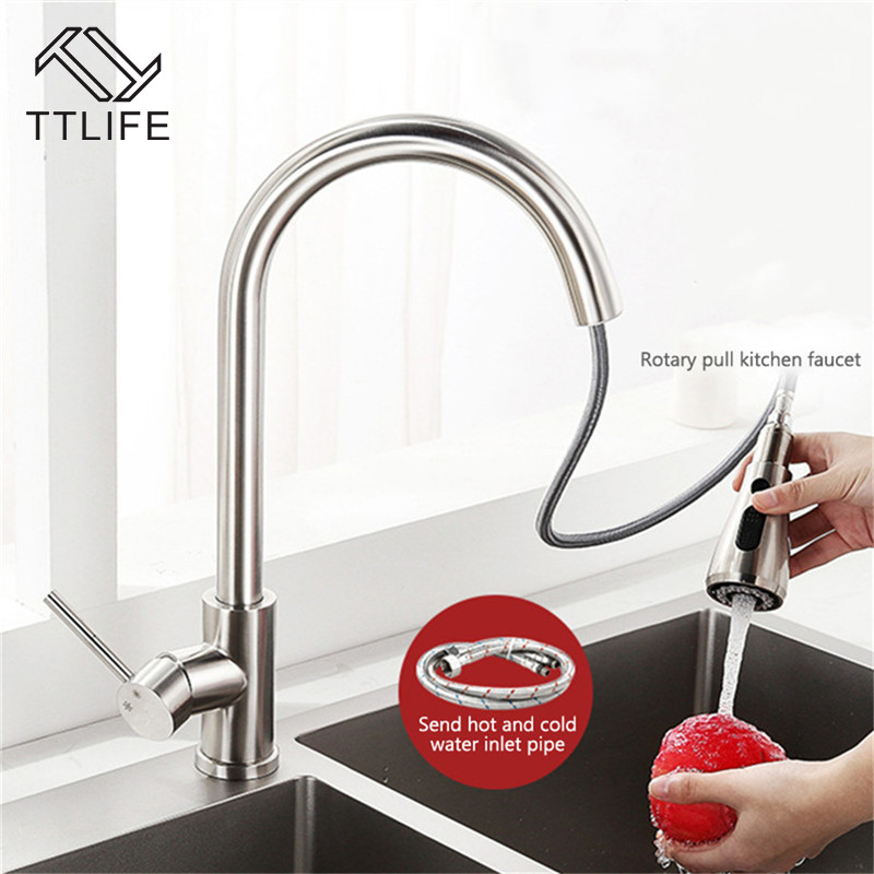 TTLIFE Pull-Out Spout Faucet Extender Sink Tap 360 Degrees Rotating Kitchen Faucet with Two Buttons Kitchen Sink Accessories