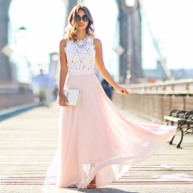 2019 Hot Sell Women Sexy Vestidos Party Dresses Nude Pink Beach Summer Boho Maxi Long Hollow Out Patchwork Sundress plus size 1