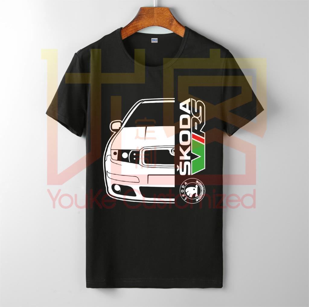 Skoda Fabia Vrs Car Auto T-shirt Men's New Fashion O-neck Cotton Short Sleeves Tops Tee Printed Unisex Casual T-shirt