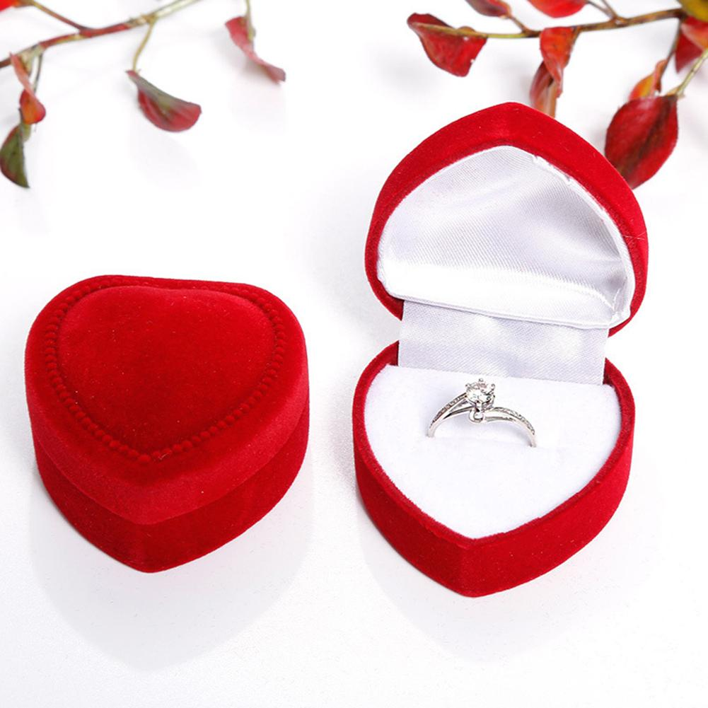 Festival Wedding Heart Shaped Jewelry Ring Earring Storage Display Gift Box Case