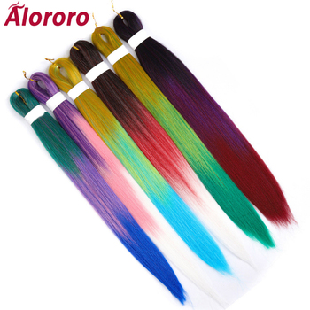 Alororo Synthetic Hair Extension Easily Braid Pre Stretched Crochet Mixed Color Professional Braiding Hot Water Braids - discount item  41% OFF Synthetic Hair