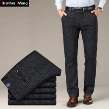 2019 Autumn and Winter New Mens Thick Casual Pants Business Fashion Small Straight Gray Elastic Trousers Male Brand Clothing