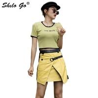 Genuine Leather Skirt Color Block Cut and Sew Yellow Panel Highstreet Slit Hem Skirt Women Autumn Belted Decoration A Line Skirt
