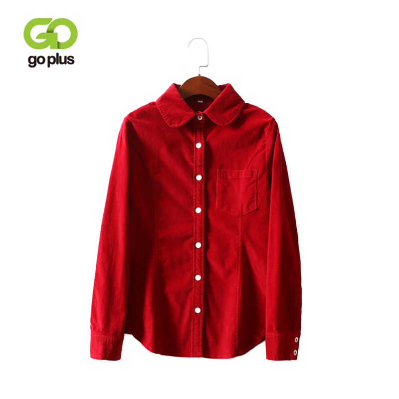 GOPLUS Vintage Corduroy Shirts Fashion Long Sleeve Women Shirts 2019 Autumn Winter Solid Camisas Mujer Casual Blouses C6675
