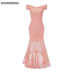 Image 3 - Kaunissina sereia vestidos de cocktail elegante renda magro fora do ombro sexy vestido de festa banquete sólidos vestidos de baile
