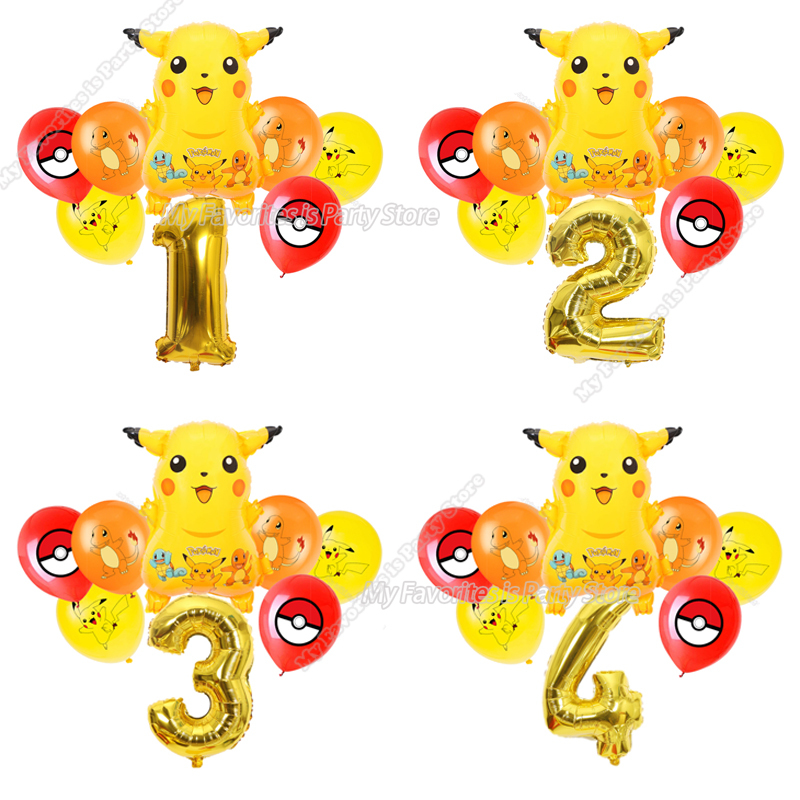 Пикачу набор воздушных шариков детский день рождения вечерние фон с изображением покемонов для мальчиков и девочек детская игра вечерние п...