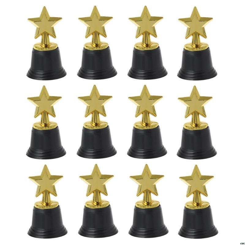 12PCS Star Gold Award Trophies 4.5