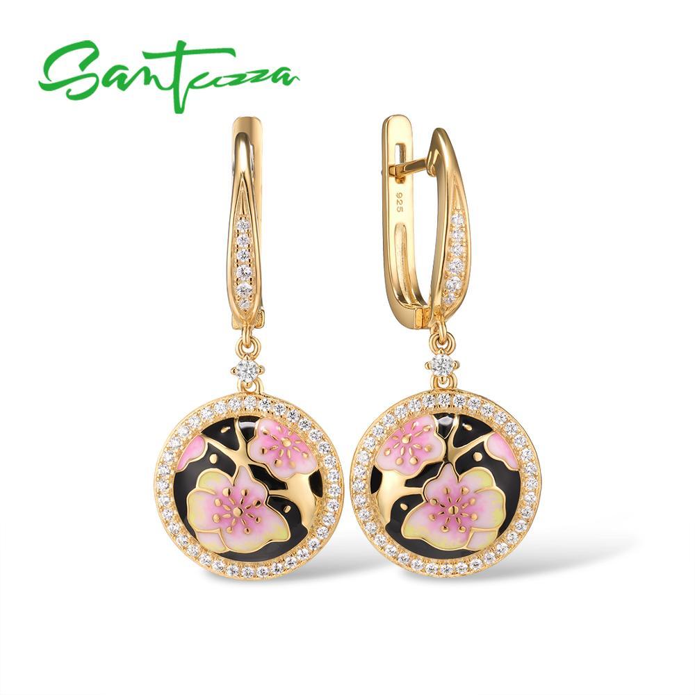 SANTUZZA Silver Drop Earrings For Women 925 Sterling Silver Black Color Pink Cherry Blossoms Flower Fine Jewelry Handmade Enamel