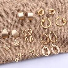 Fashion Korean Metal Gold Color Stud Earring Simple Geometric Camber Circle Knot Face Matte Irregula