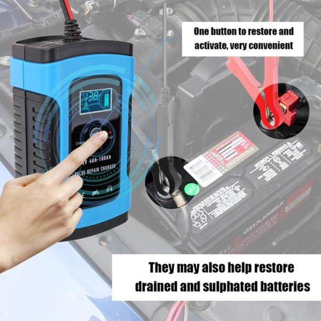 12V 6A Car Battery Charger Fast Charging Intelligent Multiple Protection Battery Charger For Truck Motor Automotive Power Tools
