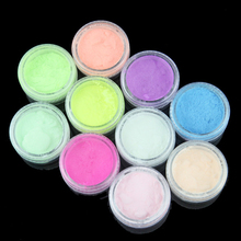 10pc Glow In The Dark Neon Phosphor Glitter Nail Art Sand Pigment Dust Luminous Holographic Fluorescent Powder for Nail Art Deco