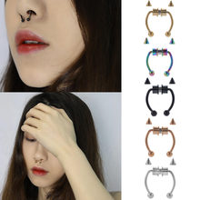 Septum Snag Nose Ring Hoop Nose Septum Stainless Steel Magnet Nose Punk Fake Piercing Body Jewelry Hip Hop Rock Ear Clip Jewelry