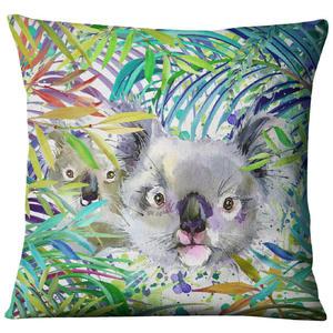 Image 2 - Hand painted Watercolor Printed Linen Cushion Cover  Animals Plants Flamingo Giraffe Throw Pillowcase Home Decor Sofa Decoration