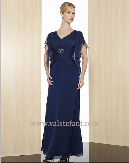 2018 Maxi Design Vestido De Festa Colorful Long V-neck Custom Cap Sleeve Elegant Party Evening Gown Mother Of The Bride Dresses