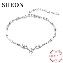 SHEON Christmas Moose Bracelet 925 Sterling Silver Lovely Bamboo Antler Chain Bracelet For Women Wedding & Engagement Jewelry