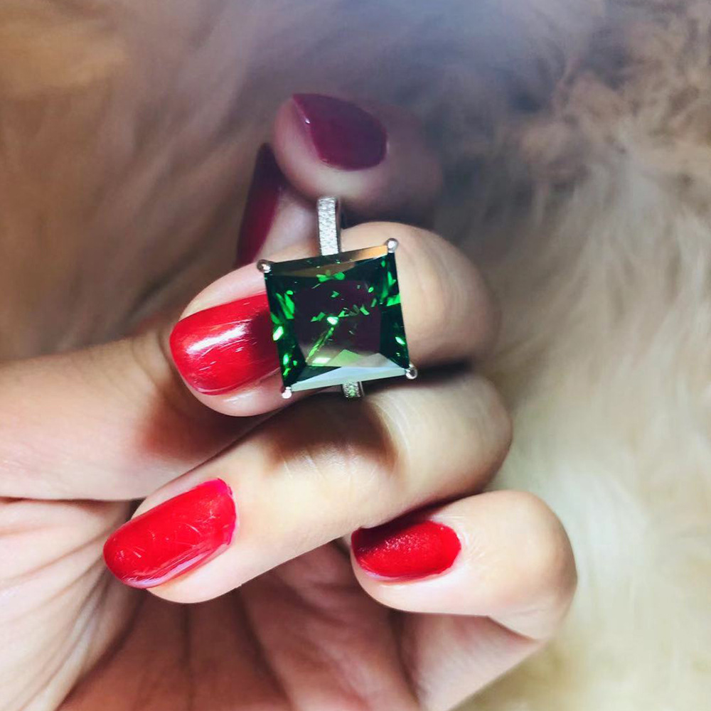 PANSYSEN 100% 925 Sterling Silver Square Natural Emerald Gemstone Couple Finger Rings for Women Men Hot Wedding Engagement Ring