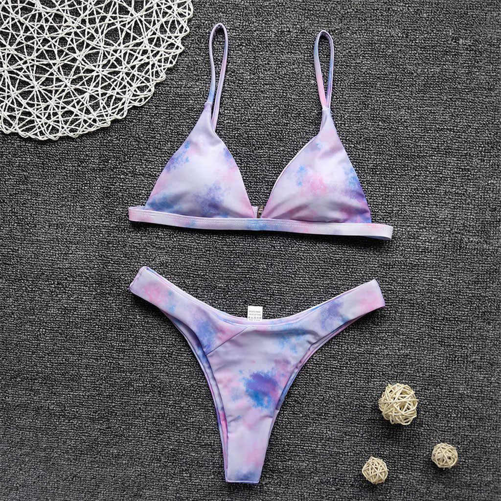 2020 Baru Musim Panas Wanita Bikini Set Wanita Sexy Tie-Dye Macan Tutul Cetak Brasil Swimsuit Tinggi Dipotong Dua Potong mandi Bikini # LR4